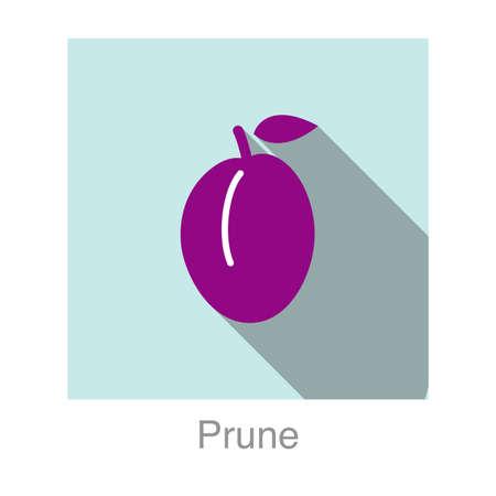ciruela pasa: Icono plana fruta de ciruela