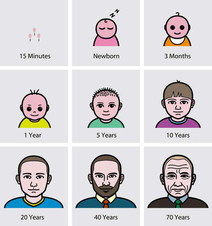 aging: A man Aging Process Illustration