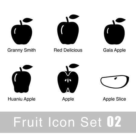 granny smith apple: Fruit flat icon design