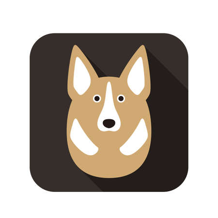 cute dog: cute dog face and body flat design, vector