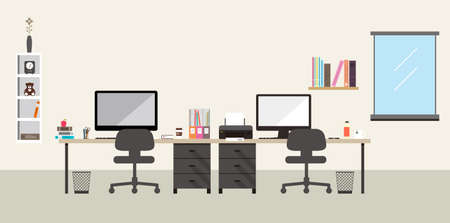 cartoon business: desk with computer and other things, vector