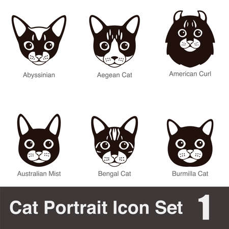 bengal cat: Cat breed face cartoon flat icon series Illustration
