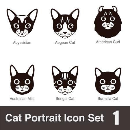 bengal cat: Cat breed face cartoon flat icon series Illustration