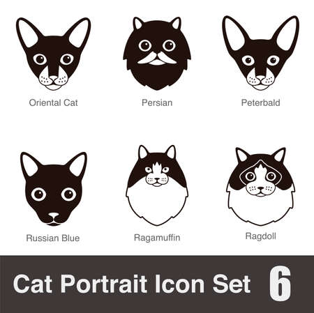 siluetas de animales: icono de la serie plana cara casta gato de dibujos animados