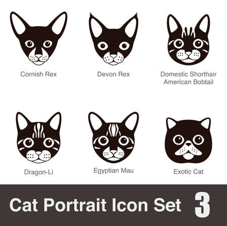 animal silhouette: Cat breed face cartoon flat icon series Illustration