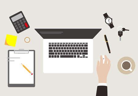 klawiatura: biurko z komputerem i innymi, wektor Ilustracja