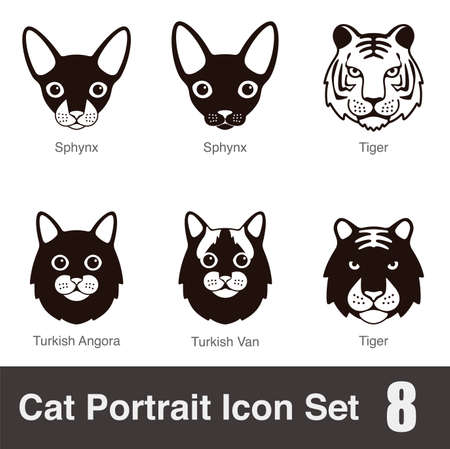 shadow silhouette: Cat breed face cartoon flat icon series Illustration