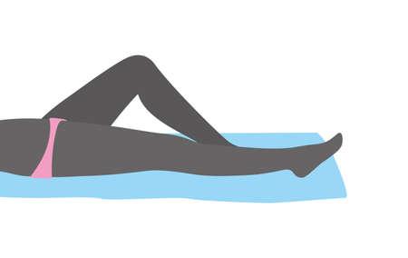lying: sexy girl leg series, woman lying on the towel, vector