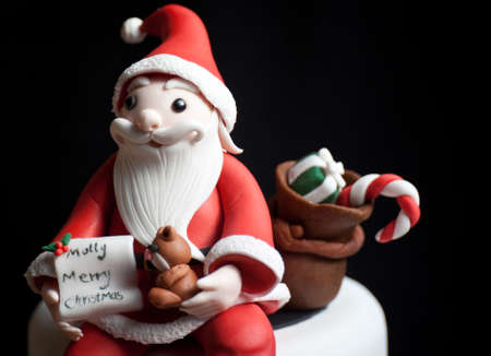 santa claus background: Fondant Santa Claus doll, cartoon toy