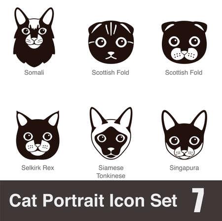 siamese cat: Cat breed face cartoon flat icon series Illustration