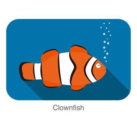 colorful fish: cute cartoon Clownfish, vector