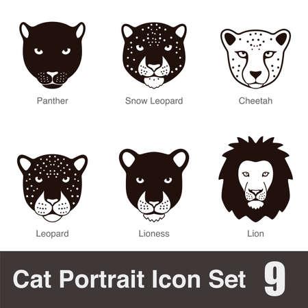 breed: black big cat breed face cartoon flat icon series