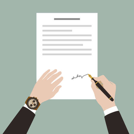 signing papers: man signing contract with pen Illustration