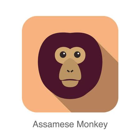 cartoon new year: cute monkey face, Assamese monkey flat icon design