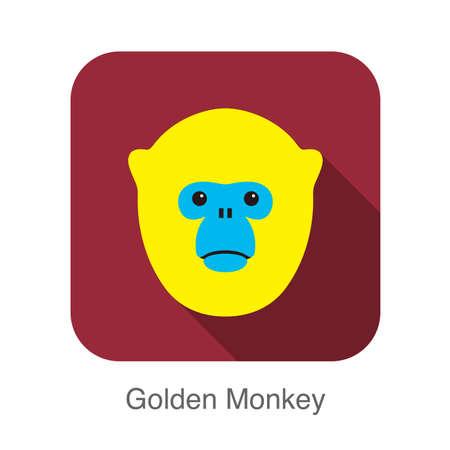 cartoon new year: cute golden monkey face flat icon design Illustration