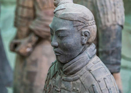 famous Chinese terracotta warriors army figures are exhibited