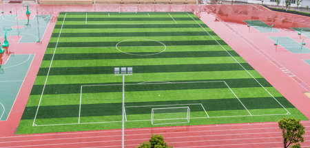 night views: empty soccer field at school Editorial