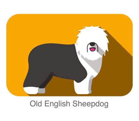 sheepdog: Breed dog standing on the ground, side,face forward, dog cartoon image Illustration
