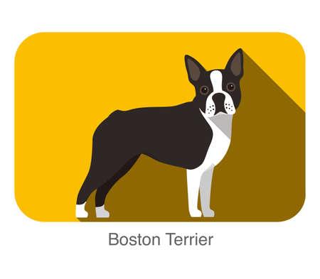 Breed dog standing on the ground, side,face forward, dog cartoon image Illustration