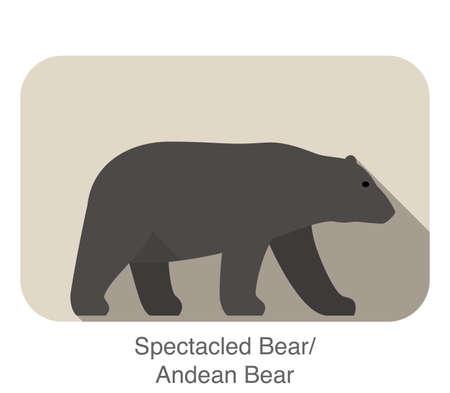 spectacled: Spectacled bear walking side flat 3D icon design,  illustration Illustration