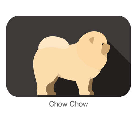 chow: Chow Chow dog breed flat icon design Illustration