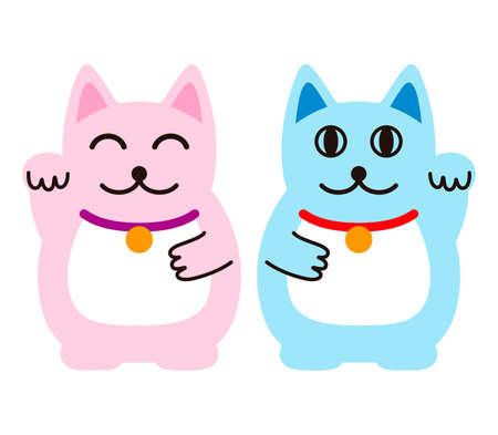 Fortune Cat, Lucy cat, Couple cat, vector