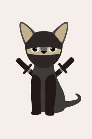 Ninja cat with japanese sword, Fashion portrait of cat