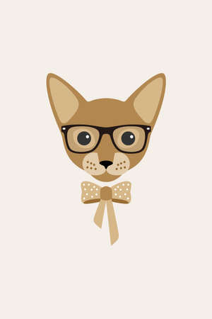 Elegant cat wear a glasses and bowknot, fashion portrait of cat Illustration