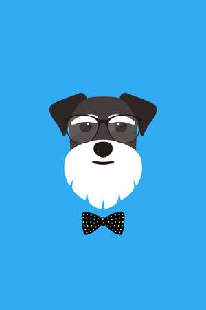 Gentlemen dog wear glasses and bowknot like a man, Fashion portrait of dog, schnauzer Illustration