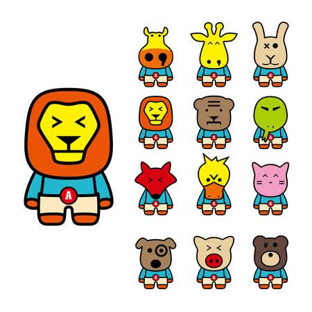 charactor: animal character flat icon set