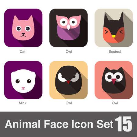 mink: Animal face flat icon,  Vector