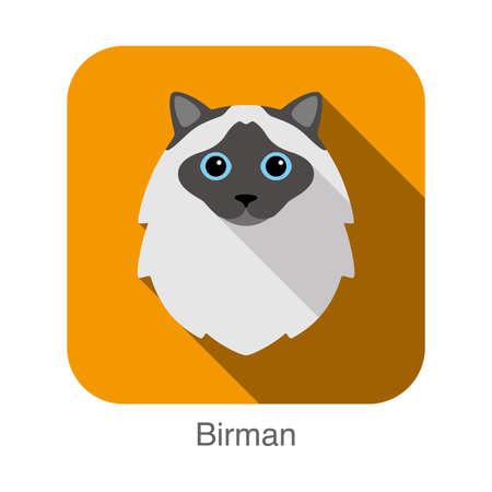 Birman, Cat breed face cartoon flat icon design