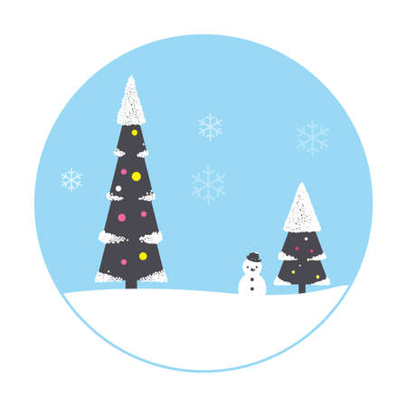 Christmas scene, tree, house,snowman