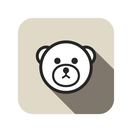 icon series: bear face flat icon, circle animal series