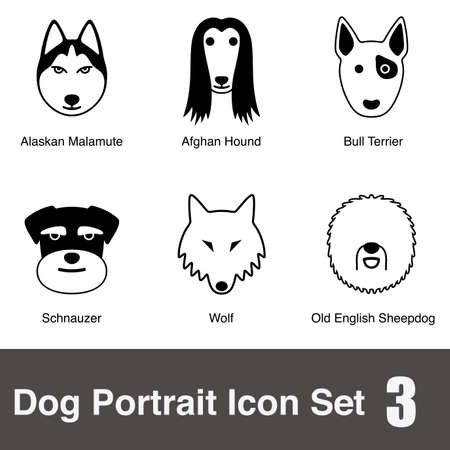 sheepdog: Dog face character icon design series