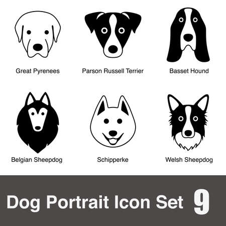 great pyrenees: Dog face character icon design series