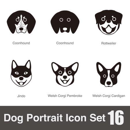 pembroke welsh corgi: Dog, animal face character icon design set