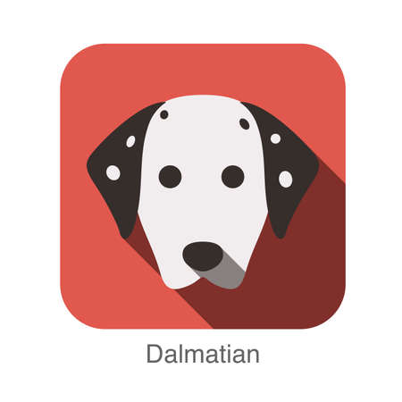 dalmatian: Dalmatian dog face flat icon