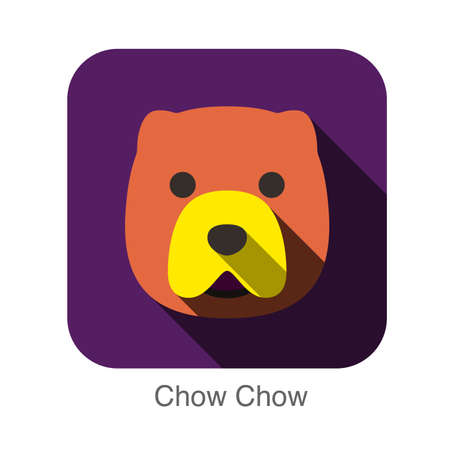 chow: Chow Chow dog face flat design