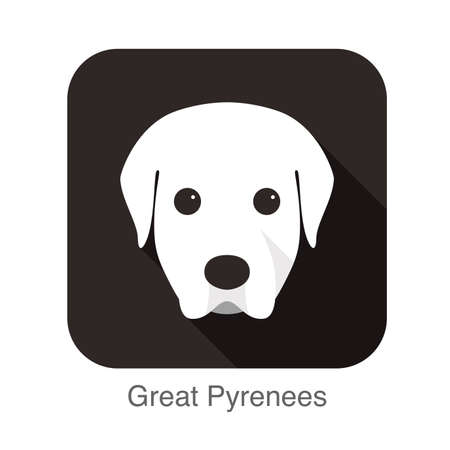 great pyrenees: Great pyrenees face flat icon, dog series Illustration