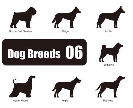 kelpie: Dog breeds, standing on the ground, side,silhouette, black and white,  illustration, dog cartoon image series