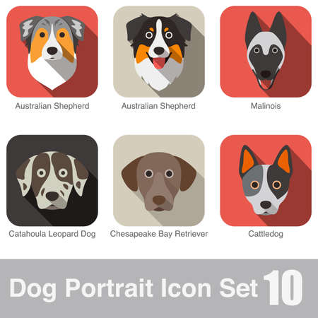 Dog face character icon design series
