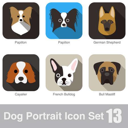 dog: Dog, animal face character icon design set