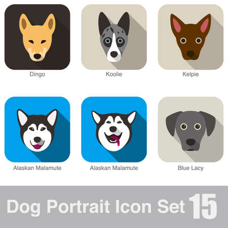 kelpie: Dog, animal face character icon design set