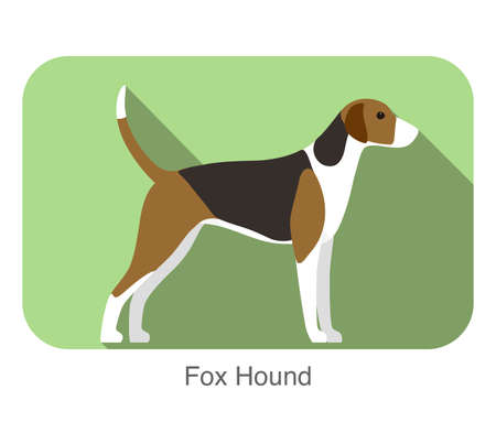 fox hound terrier standing and watching, flat icon, vector illustration Illustration