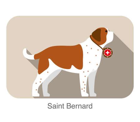 cute Saint Bernard dog flat icon