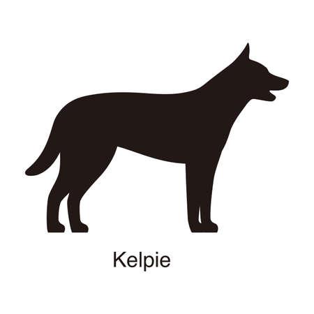 kelpie: Kelpie dog silhouette, side view, vector illustration