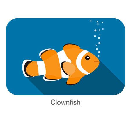 cute cartoon Clownfish flat icon design  vector