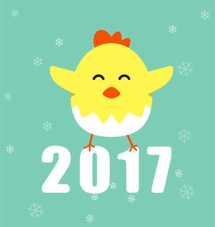 Cute cartoon chicken, greeting new year  vector illustration. Illustration