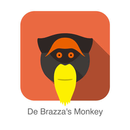 cute De Brazza s monkey face flat icon design, vector illustration